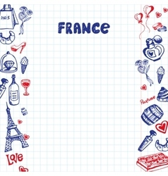 France Symbols Pen Drawn Doodles Collection vector image vector image