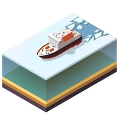 Isometric nuclear-powered icebreaker vector image