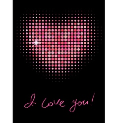 pink color halftone heart shape vector image