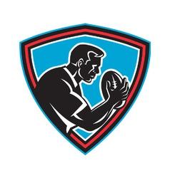 retro rugby shield vector image vector image