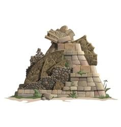 Ruins of antique mayan pyramid cartoon style vector
