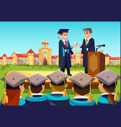 university graduate ceremony teacher congats vector image