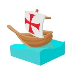 Columbus ship icon in cartoon style vector image vector image