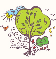 Ecologycal system with tree vector image vector image