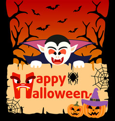 halloween background card with dracula vector image
