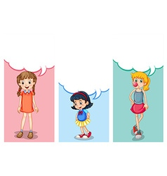 Label design with three girls vector image