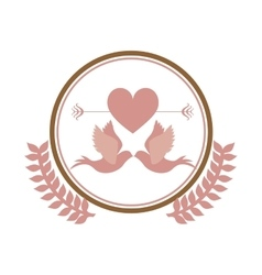 Pink circular border with olive branch and pigeons vector