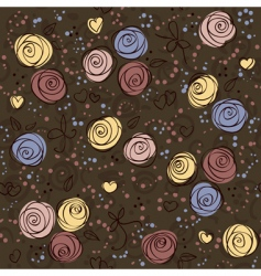 seamless floral dark vector background vector image