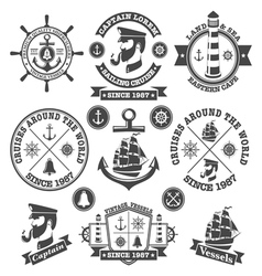 Set of vintage nautical labels and icons 2 vector