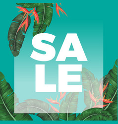 thick sale sign on promotional banner with exotic vector image vector image