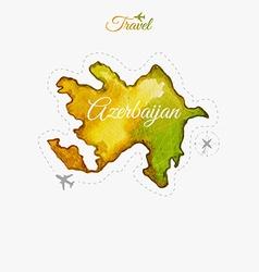 Travel around the world Azerbaijan Watercolor map vector image vector image