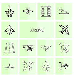 14 airline icons vector