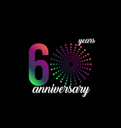 60 year anniversary firework template design vector