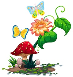 A big flower near the mushroom with two vector