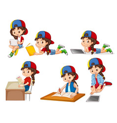 A set of girl and activity vector