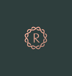 Abstract linear monogram letter r logo icon design vector