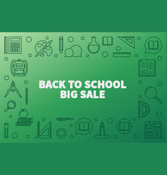back to school big sale outline horizontal vector image