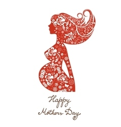 Beautiful mom to be floral silhouette vector