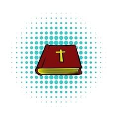 Bible book icon comics style vector image