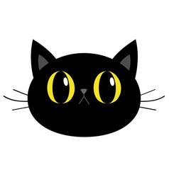 Black cat round head face icon cute funny cartoon vector