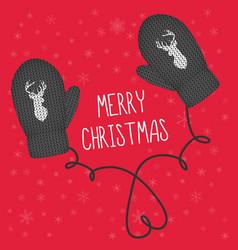 Black knitted mittens head reindeer vector