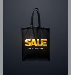 black tote bag with golden sale sign vector image