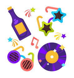 Bright disco set of funny glasses vynil record vector