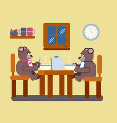 brown bears eating soup vector image