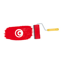 brush stroke with tunisia national flag isolated vector image