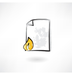 burning document grunge icon vector image
