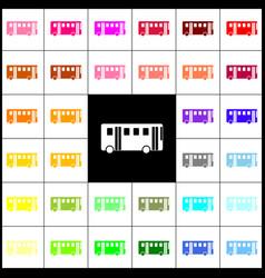 bus simple sign felt-pen 33 colorful vector image