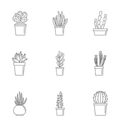 cacti icon set outline style vector image
