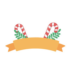 Candy canes branches ribbon decoration merry vector