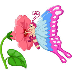 Cartoon butterfly with flowers vector
