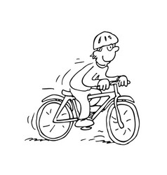 Cartoon cyclist outlined cartoon vector