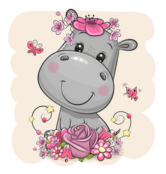 Cartoon hippo with flowers on a beige background vector