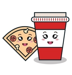 Cartoon pizza cup plastic facial expression vector