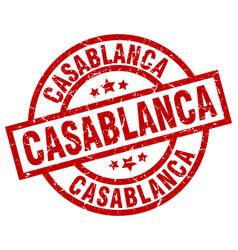 Casablanca red round grunge stamp vector
