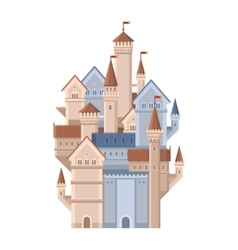 Castle Magic Fairy Tale Building with Red Flags vector