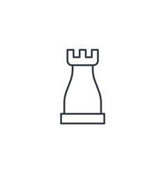 Chess rook strategy thin line icon linear vector