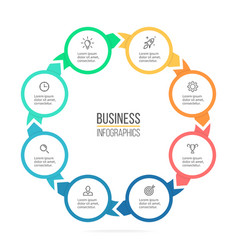 Circular infographics Business diagram with 8 vector image