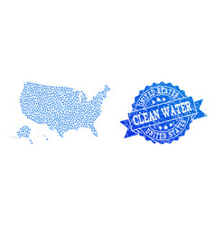 Collage map of usa territories with water drops vector