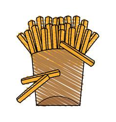 Color crayon stripe cartoon cardboard box with vector