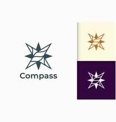 Compass logo in modern shape represent travel vector