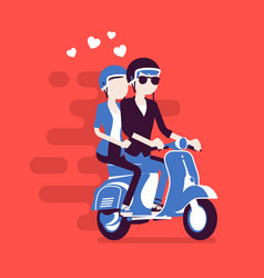 Couple in love on scooter vector