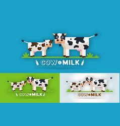 cow milk farm logo design template vector image
