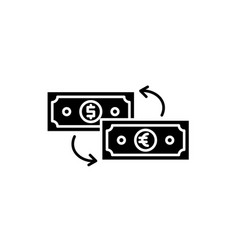 currency exchange black icon sign on vector image