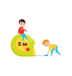 Cute boys using giant measuring tape preschool vector