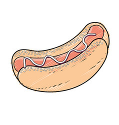 Delicious hot dog fast food meal vector