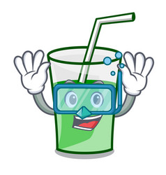 diving green smoothie character cartoon vector image